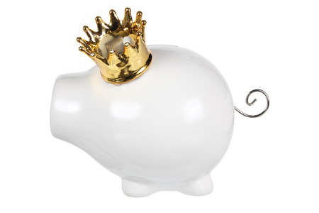 piggy bank: Piggy Bank with Crown on White Background