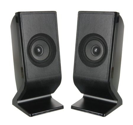 Portable Speakers on White Background Banque d'images