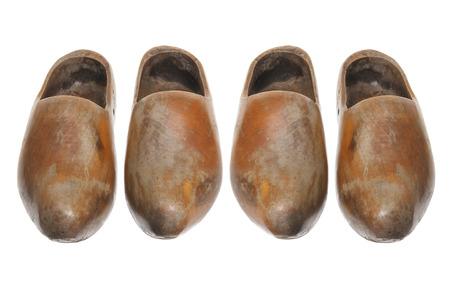klompen: Wooden Dutch Clogs on White Background