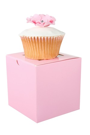 resent: Cupcake on Box with White Background Stock Photo