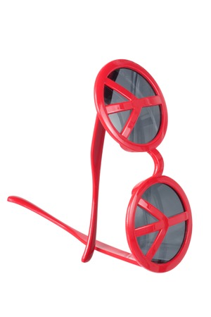 sunnies: Sunglasses with Peace Sign on White Background