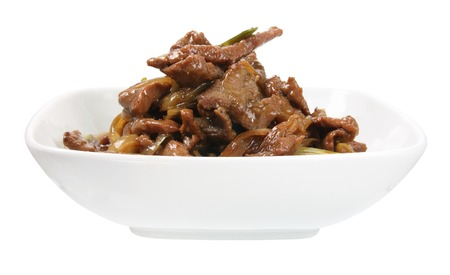 Mongolian Beef on White Background photo