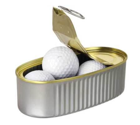 golf balls: Golf Balls in Tin Can on White Background