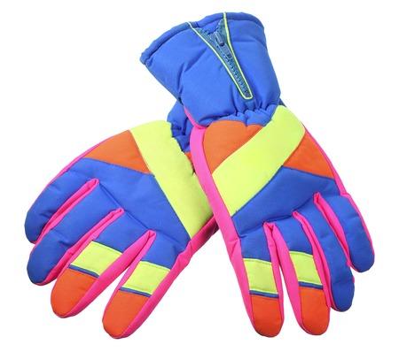 Ski Gloves on White Background