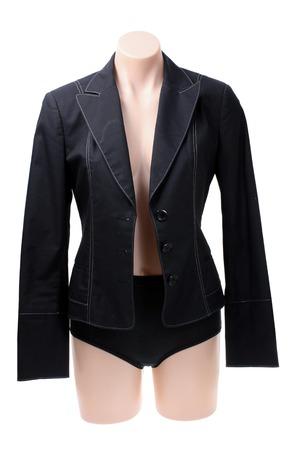 panties: Maniqu� con la chaqueta en el fondo blanco Foto de archivo