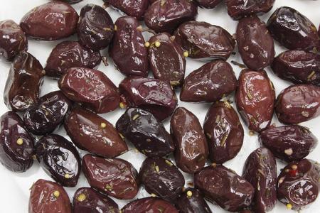 garlic: Close Up of Kalamata Olives Stock Photo