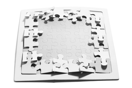 interlink: Jigsaw Puzzle Pieces on White Background Stock Photo