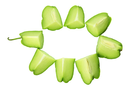 chayote: Slices of Chayote on White Background