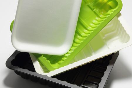 close up food: Close Up of Food Trays Stock Photo