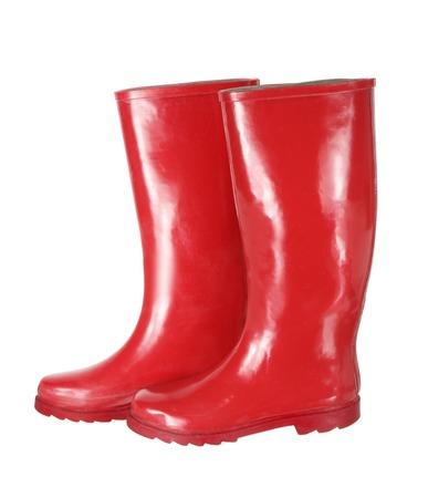 gumboots: Red Gumboots on White Background Stock Photo