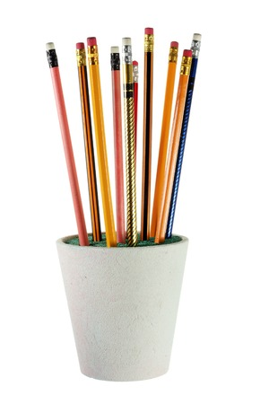 writing implements: Pencils on Flower Pot with White Background