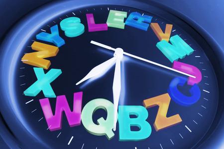 punctuality: Alfabetos pl�sticos en el reloj de pared Foto de archivo