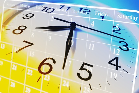 count down: Composite of Clock and Calendar Stock Photo