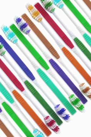 bad hygiene: Arrangement of Toothbrushes