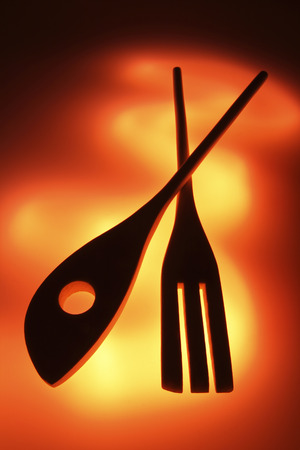 implements: Silhouette of Wooden Utensils