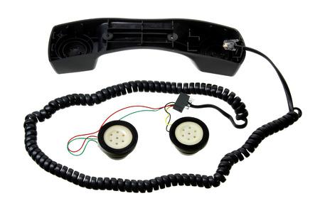 spoilt: Broken Telephone Handset on White Background