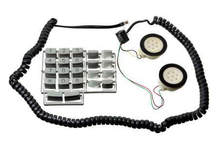 handset: Broken Telephone Handset on White Background