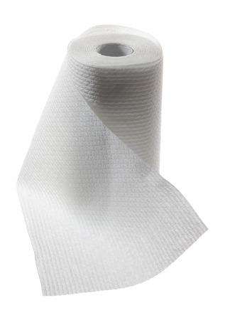 toalla: Toalla de papel en el fondo blanco