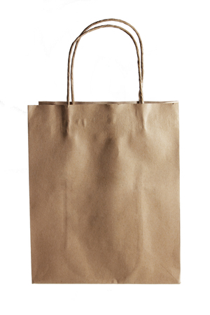 paperbag: Paper Bag on White Background Stock Photo
