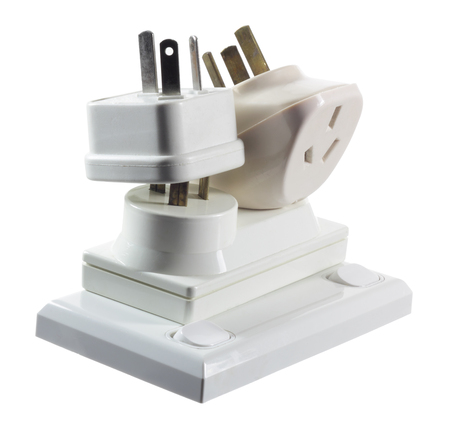 socket adapters: Electrical Plugs on White Background
