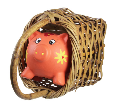 piggybank: Piggybank and Basket on White Background Stock Photo