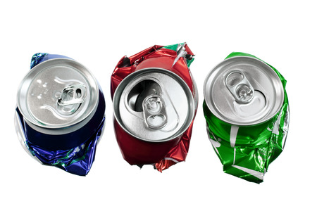 crushed cans: Crushed Cans on White Background Stock Photo