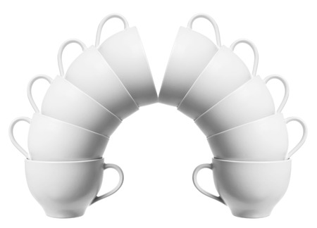 homeware: Stacks of Cups on White Background