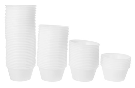 homeware: Stacks of Plastic Containers on White Background