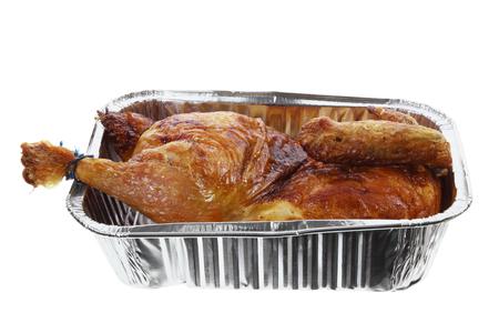 Roast Chicken on White Background