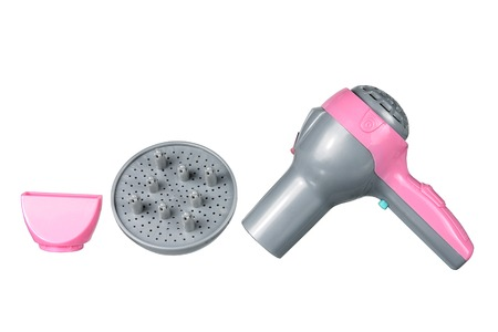 dryer: Toy Hair Dryer on White Background Stock Photo