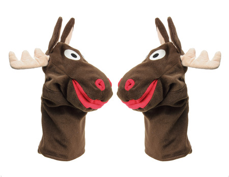 puppets: Reindeer Hand Puppets on White Background Stock Photo