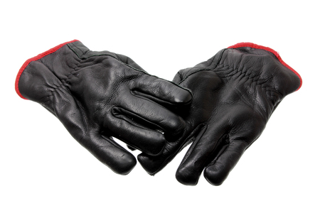 leather gloves: Black Leather Gloves on White Background
