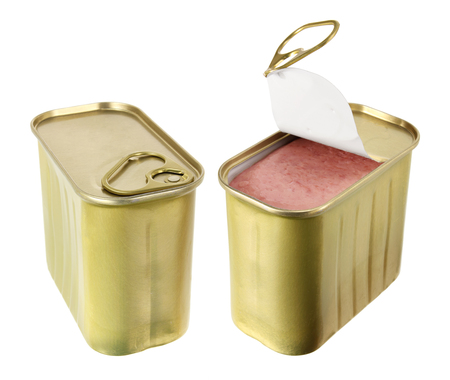 luncheon: Luncheon Meat on White Background