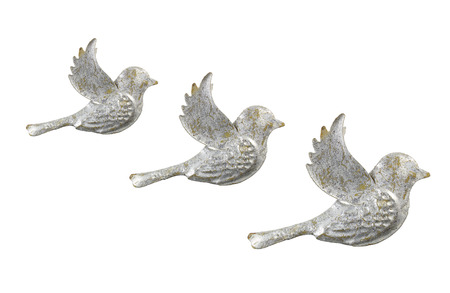 Dove Ornaments on White Background Stock Photo