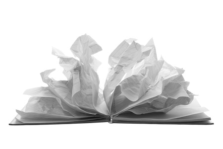 Notebook with Crumpled Pages on White Background
