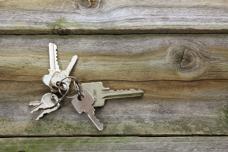 Keys on Wooden Background