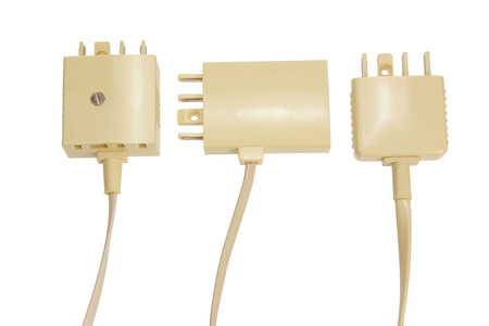 life extension: Telephone Plugs and Sockets on White Background