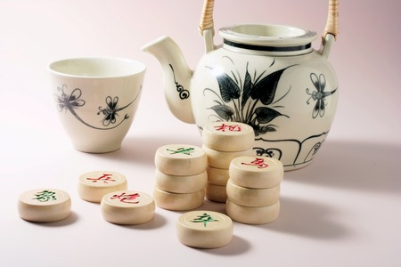 Teapot and Cup with Chinese Chess