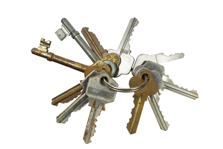 Bunch of Keys with White Background Stock Photo