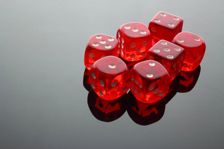 Dice on Grey Background Stock Photo