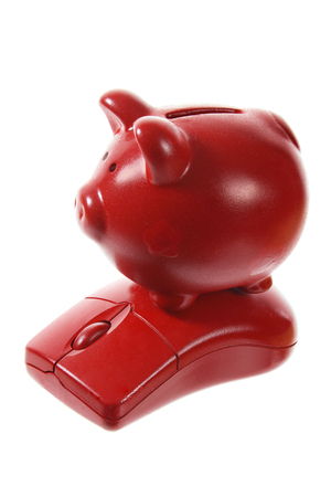 Piggybank and Mouse on White Background Stock Photo