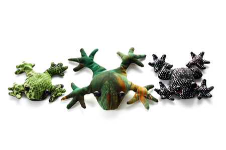 hilarious: Frog Soft Toys on White Background