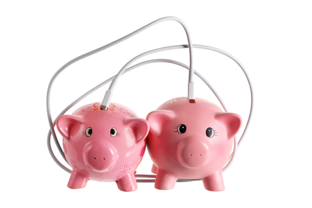 Piggy Banks with Cable on White Background Stock Photo