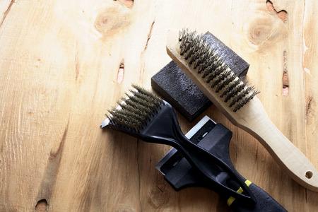 sanding block: Sanding Tools on Wooden Background Stock Photo