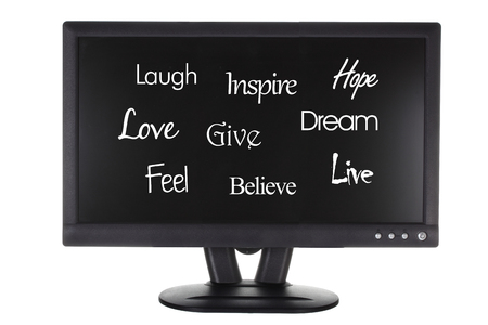 Monitor with Inspiration on White Background