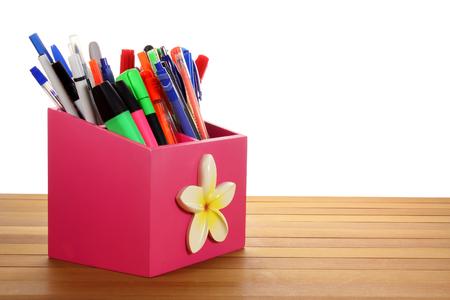 ball pens stationery: Ballpoint Pens on Wooden Background Foto de archivo
