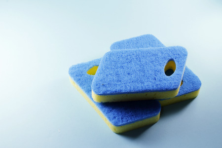 Cleaning Pads on Blue Background Banco de Imagens - 85458812