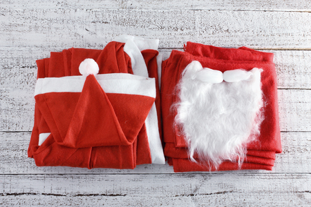 Santa Clause Costume on Wooden Background