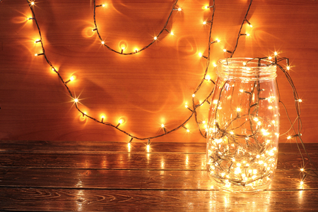 Fairy Lights in Glass Jar Banque d'images