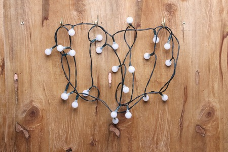 Fairy Lights with Wooden Background